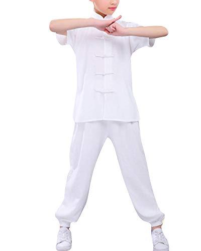Mengmiao Kinder Unisex Kurze Ärmel 2-Teiliges Set Kampfsport Anzug Kung Fu Oberteile und Hosen Weiß 170