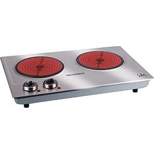 Jata V532 Cocina Eléctrica Vitrocerámica 2 Fuegos con Dos Placas de 18 cm Cuerpo de Acero Inoxidable 2 Termostatos…