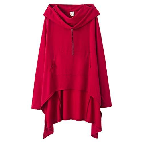 Xmiral Kapuzenpullover Damen Einfarbig Große Größe Sweatshirt mit Tasche Unregelmäßiger Saum Pullover Lose Tunika Jumper T-Shirt Tops(Weinrot,4XL)