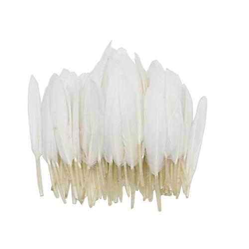 / 4-6 zoll weiß Natürliche Gänsefedern DIY Handwerk Zubehör Kostüm Bühne Eigenschaften für Hochzeit Party Festival Karneval Dekoration ()