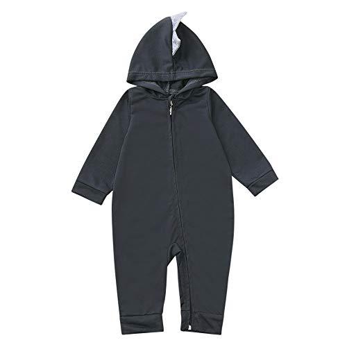 LABIUO 1Pcs Vêtement Bébé Garçon Fille Modèle de Dessin animé Pyjama Bébé Hiver Combinaison Body Manteau Bébé à Capuche Barboteuses Grenouillères Zipper pour 3-18 Mois(Gris,12 Mois)