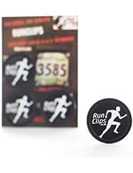Run Clips babero/Carrera Número sujetadores., negro, 4 cm