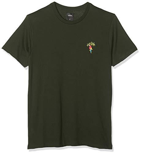 Burton Menswear London Herren Short Sleeve Parrot Embroidery Tee T-Shirt, Grün (Khaki 085), Herstellergröße :Small -