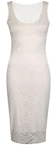 Nouveau dames manches Floral Lace longue moulante en dentelle Robe mi-longue 36-50 Crème