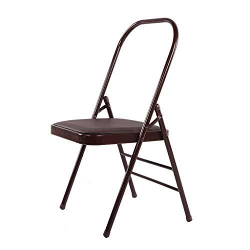 ZLBZBB Yogastuhl, klappbarer tragbarer Yogastuhl, spezieller Gymnastikstuhl für Yoga Studio (rückenfreier Standardstuhl): Die Säule des Yoga und des erholsamen Yoga Brown
