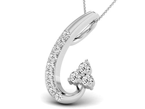 Or Blanc 9 ct Pendentifs Diamant , 0.07 Ct Diamant, GH-SI, 0.37 grammes.