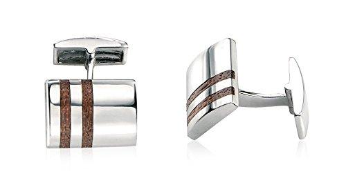 Fred Bennett Herren-Manschettenknöpfe 925 Sterling Silber Holz braun V345 Manschettenknöpfe mit holzerner Doppel-Streifen-Einlegearbeit