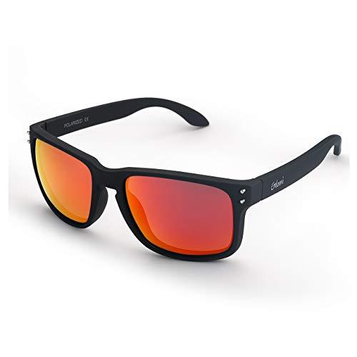 Glomi Wayfarer Polarisierte Sonnenbrille Herren und Damen,[2019 NEW] UV400 Schutz, Blendschutz, Klassisches und Retro Design mit Metallnieten (Orange)