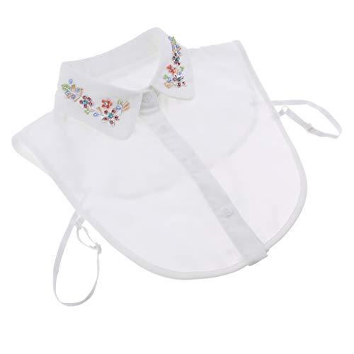 F Fityle Damen Kragen Abnehmbare Bluse Half Shirts Blusenkragen Shirtkragen Topkragen mit Perlen/Strass Stickerei Deko - 02