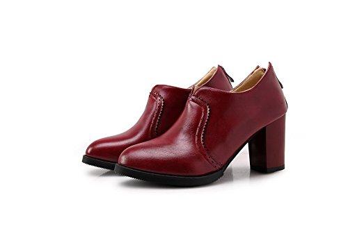 VogueZone009 Femme Couleur Unie à Talon Haut Rond Tire Chaussures Légeres Rouge Vineux