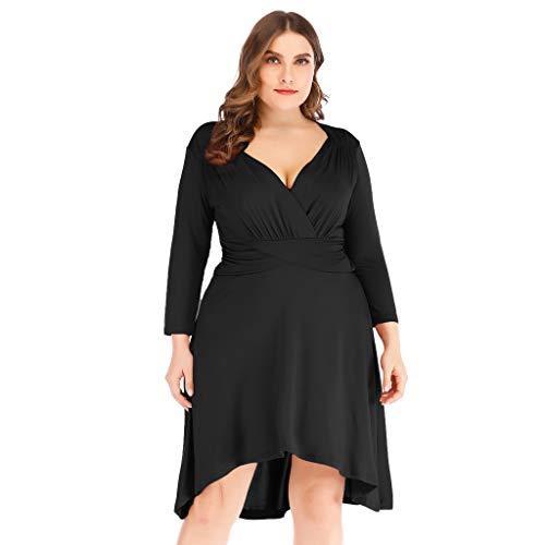 LOPILY Damen Sommerkleider Reizvolle V-Ausschnitt Lange Ärmel Hoher Taille Kleider Partykleid Einfarbig Einfach Bequem Freizeit Minikleid Strandkleid Plus Size(Schwarz,EU-46/CN-4XL)