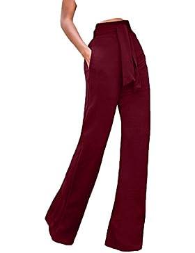 Verano Mujeres de Largos Pants Casual Colores Lisos con Vendaje Pantalón Moda Cintura Alta Pierna Ancha Pantalones