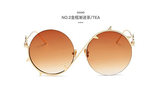 LSHGYJ GLSYJ@,Mode, Neue, Metall, rund, Thorn Knochen, Persönlichkeit, Sonnenbrille, in Europa und in den Vereinigten Staaten Trend, Männer und Frauen mit dem Absatz, Sonnenbrille - Knochen Metall Spiegel