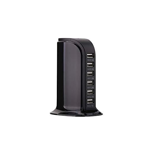 ZUZU Quick Charge 3.0 60W 6-Port USB Wall Charger, Multi-Port Desktop Charging Station für Galaxy S9 S8 S7 S7 Edge, Note 5/4 und Aipower für iPhone X 8 7 6s Plus, iPad,Black Station Desktop Charger