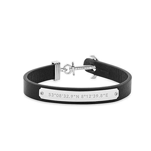 PAUL HEWITT Anker Armband Signum Koordinaten - Armband Leder Damen (Schwarz) mit Anker Schmuck aus Edelstahl (Silber)