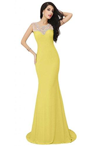 Sunvary Elegant Jewel Sheer sirena cinghie senza maniche, in Chiffon Prom Tulle Gowns sera Daffodil