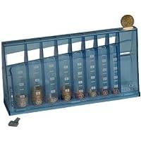Preisvergleich für 1355 Euro Münzsortierer Spardose - Sammeldose blau transparent - Sparschwein