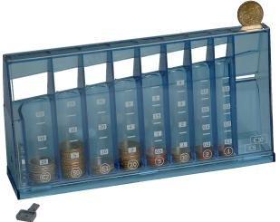 1355 Euro Münzsortierer Spardose - Sammeldose blau transparent - Sparschwein - Blaue Euro-schein