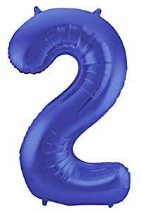 Folat 65922 - Globo con Forma de número 2 (86 cm), Color Azul metálico Mate
