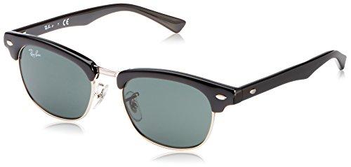 Ray Ban Unisex Sonnenbrille Clubmaster Junior, Gr. Small (Herstellergröße: 45), Schwarz (Gestell: Schwarz, Gläser: Grün Klassisch 100/71)