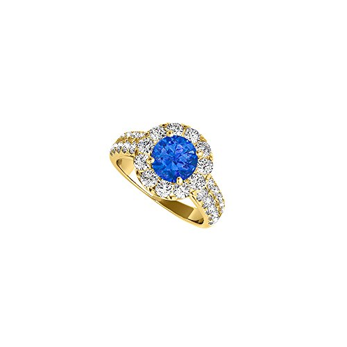 Two Carat Sapphire and CZ Halo Ring in 14K Yellow Gold - 2ct Cz Ring Engagement