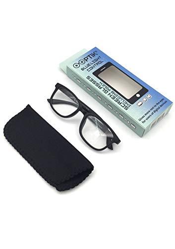 OOPTIK® Lunettes Anti Lumière Bleue pour Le Bureau/PC, Teinte Discrète | Filtre > 40% Lumière Bleue | Anti Fatigue Écrans | Gamer (Noir)