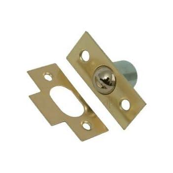 LARGE 19mm BALES CATCH DOOR CUPBOARD KITCHEN ROLLER BALL LATCH KEEP PLATE BRASS