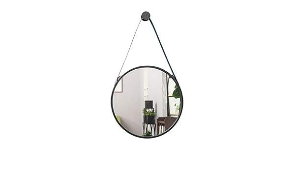 Nordic Vanity Mirror Decorazione da Parete Bagno Specchio con Corda Semplice Trucco Grande Specchio Rotondo Specchi ingranditori Colore : Nero, Dimensioni : 40cm Bloomy Home