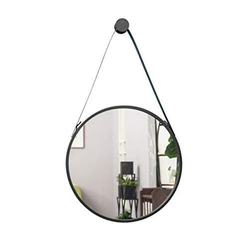 PP Haushaltsspiegel - Spiegel Badezimmer Wand-montiert Gürtel Nordic langlebig und Starke Tragfähigkeit runden Edelstahl, 2 Farben (Farbe : SCHWARZ, größe : 60cm)
