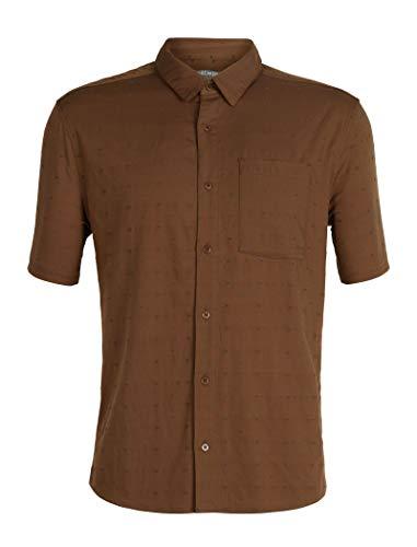 Icebreaker Herren Merino Kompass Short Sleeve Lightweight Button-Down Flanell Shirt, Merinowolle, Herren, Compass Short Sleeve Shirt, Tobacco/Monsoon/Dobby, XX-Large - Dobby Kurzarm-shirt