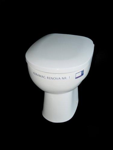 ADOB WC Sitz Klobrille mit Absenkautomatik, passend auf Keramag Renova Nummer 1 plus alle handelsüblichen, acqua/weiß, 13902