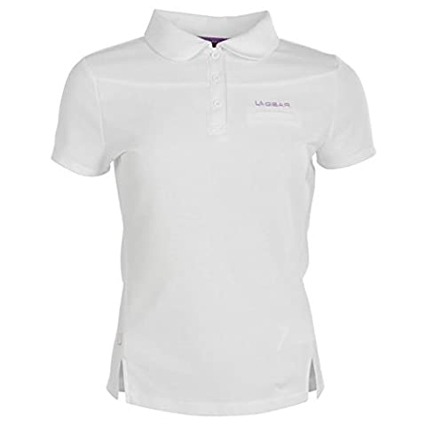 LA Gear Womens Ladies Pique Polo T Shirt Short Sleeve Button Fastening Tee Top White 14 (L)
