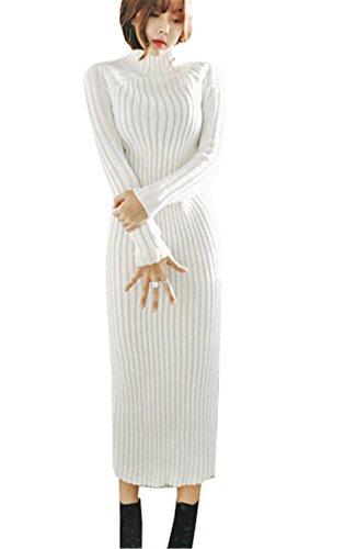 Haroty Damen Strickkleid Lang Winter Herbst Strickpullover Slim Sweater Einfabrig Jumper Oberteile Hoher Kragen Strickpulli (Weiß, One Size)