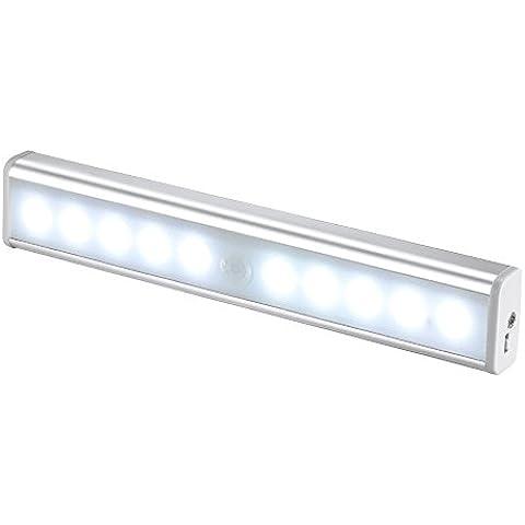 JESWELL Recargable Luz Armario con Interruptor, Lámpara USB LED Barra de Luz LED Nocturna Inalámbrica con Sensor de Movimiento Wireless para Pasillo Baño Armario Cocina, Blanco Frío [versión