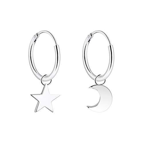 YL Orecchini a cerchio con stelle di luna, orecchini in argento sterling 925 placcato in argento 925 per donne e bambine