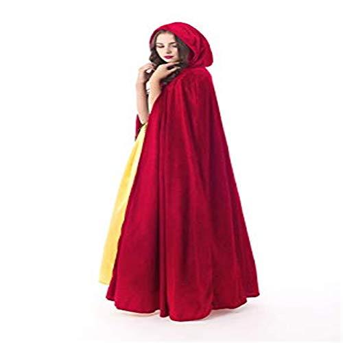 In Voller Länge Erwachsenen Cape (AFCITY Erwachsene Halloween Weihnachten Cosplay Kostüm Halloween Cape Unisex in voller Länge SAMT Cape Kap Cape Cosplay Kostüm für Erwachsene Kostüme für Erwachsene (Farbe : Rot))