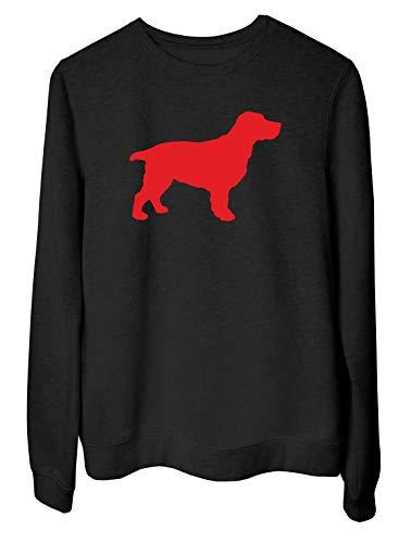 Rundhals-Sweatshirt fur Frau Schwarz WES066037 Silhouette A Cocker Spaniel Dog A Wall Art Sticker IN 4 Sizes & 24 Colours Cocker Spaniel T-shirt Sweatshirt