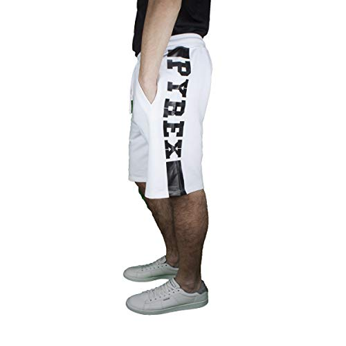 Pyrex bermuda uomo bianco con stampa laterale con logo 40059