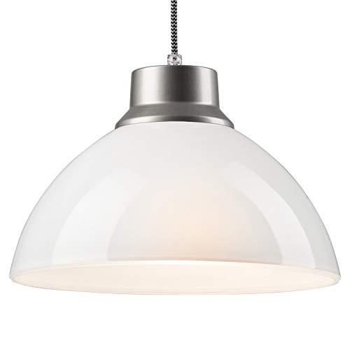 Pendel-Leuchte Decken-Leuchte aus Glas E27 Hänge-Leuchte (Farbe: Weiss/Silber) Vintage Industrieleuchte Wohnzimmerlampe Modern Wohnzimmer mit Kabel Vintagelampe für Wohnzimmer/Küche/Büro/Praxis