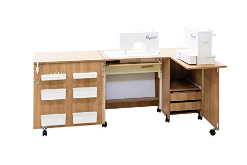 Comfort 5+ | Mueble para máquina de coser | (Oak Sorano Natural Light, L (Air-Lifter 15kg))