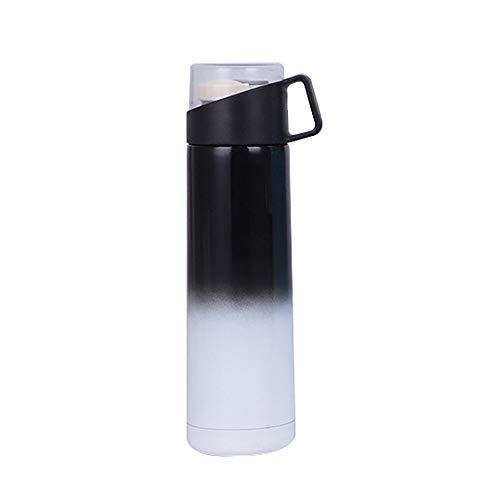 HCFKJ Warme WasserFlaschen, Sport-Wasserflasche Cool Griff Edelstahl Cup Isolierbecher Vakuum Schule (BK)