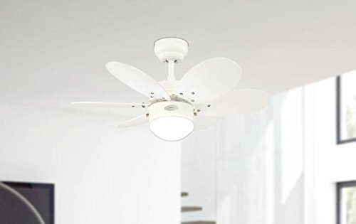 316qBb5GgNL - Westinghouse Ceiling Fans 78673 Turbo II One-Light 76 cm Six-Blade Indoor Ceiling Fan, White Finish with Opal Frosted…
