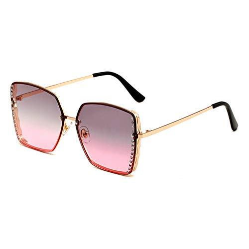 HQMGLASSES Women es Rimless Sonnenbrille Square Gold Frame Sparkling Rhinestone Celebrity Shades Sonnenbrille für Driving/Traveling, UV 400 Schutz,GrayPinkLens