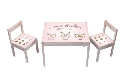 """""""Best Friends"""" Aufkleber in rosa - KA05 - (Möbel nicht inklusive) - Möbelsticker passend für die Kindersitzgruppe LÄTT von IKEA"""
