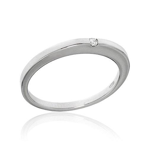 Gioiello italiano - anello solitario in oro bianco 18kt con diamante taglio brillante 0.02ct