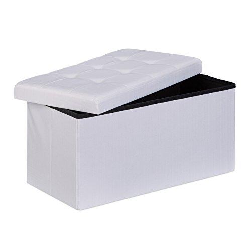 Relaxdays Faltbare Sitzbank XL 38 x 76 x 38 cm HxTxB stabiler Sitzcube mit praktischer Fußablage als Sitzwürfel aus Leinen als Aufbewahrungsbox mit Stauraum und Deckel zum Abnehmen für Wohnraum, weiß