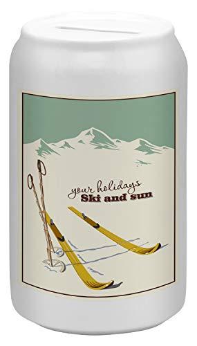 Spardosen Spardose Retro Skifahren Keramik bedruckt