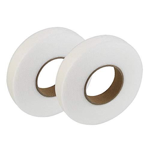 LYTIVAGEN Nastro Adesivo in Tessuto, 2Pcs Termoadesivo per Tessuti, Nastro Orlo Tende Fusibile, Tessuto di Fusione per Jeans Pantaloni Abbigliamento Vestiti 2cm (Bianco)
