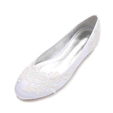 Rtry Chaussures De Mariage Pour Femmes Satin Comfort Spring Summer Wedding & Amp; Robe De Soirée Bowknot Strass Heelivory Champagne Plat Bleu Rubis Us10.5 / Eu42 / Uk8.5 / Cn43