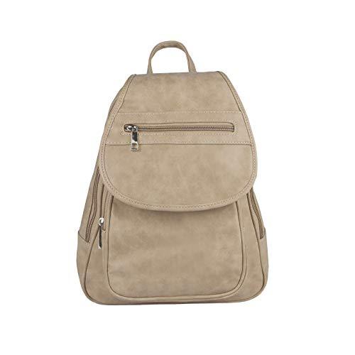 OBC Damen Rucksack Organizer Cityrucksack Schultertasche Stadtrucksack Backpack Handtasche Daypack Leder Optik Tablet Taupe Elfenbein - Elfenbein-abend-handtasche